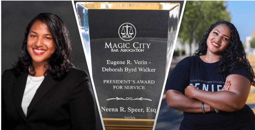 Neena is the first recipient of the Verin-Walker President's Award for Service for the Magic City Bar Association